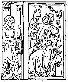 Woman visiting a medieval doctor